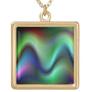Colorful electric waves square pendant necklace