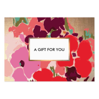 Colorful Elegant Chic Floral Gold Gift Card Large Business Card