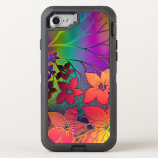 Colorful Elegant Retro Rainbow Floral Pattern OtterBox Defender iPhone 7 Case