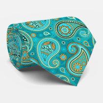 Colorful elegant vintage paisley pattern neck tie