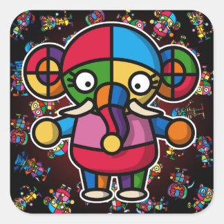 colorful elephant2 square sticker