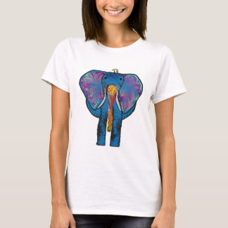 Colorful Elephant and bird friend on t-shirt