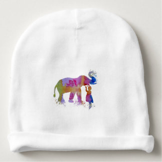 Colorful elephant art baby beanie