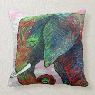 Colorful Elephant Art Throw Pillows