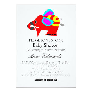 Colorful elephant baby shower invitation