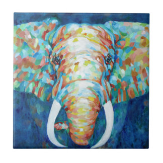 Colorful Elephant Ceramic Tile