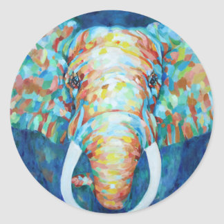 Colorful Elephant Classic Round Sticker