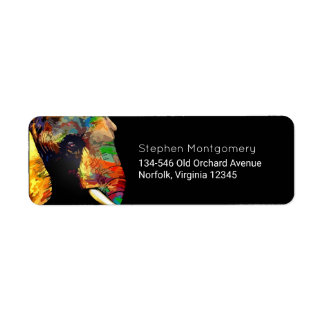 Colorful Elephant Head Portrait Drawing Label