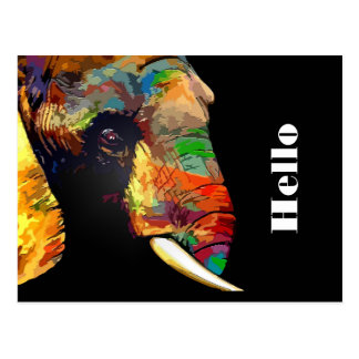 Colorful Elephant Head Portrait Drawing Postcard