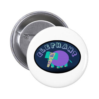 Colorful Elephant In Oval Button