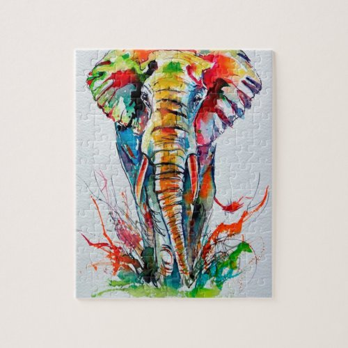 Colorful elephant jigsaw puzzle