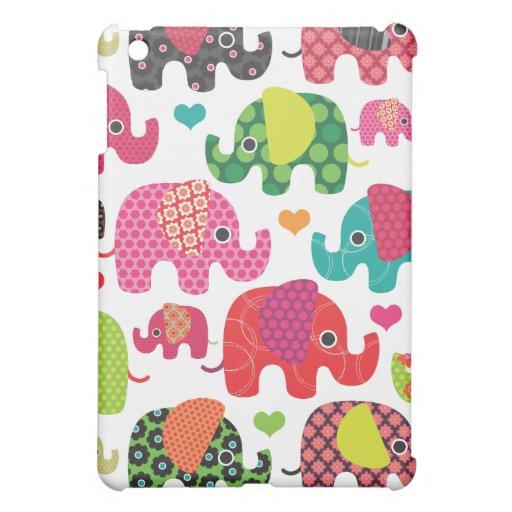 Colorful elephant kids pattern ipad mini case