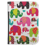 Colorful elephant kids pattern kindle case
