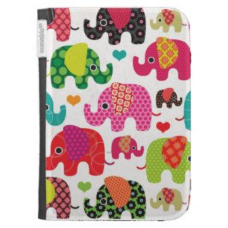 Colorful elephant kids pattern kindle case