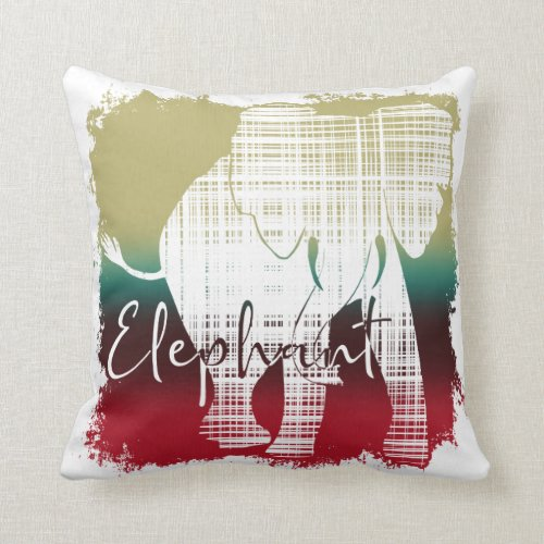 Colorful Elephant Outline Throw Pillow