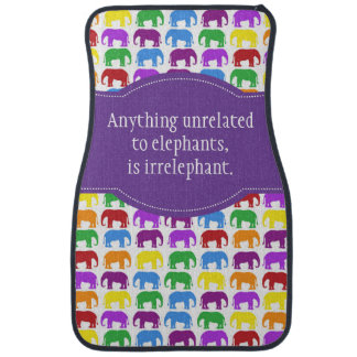 Colorful Elephant Pattern with Personalized Quotes Car Floor Mat