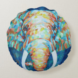 Colorful Elephant Round Pillow