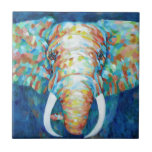 Colorful Elephant Small Square Tile