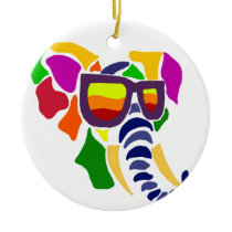 Colorful Elephant Wearing Sunglasses Abstract Ceramic Ornament