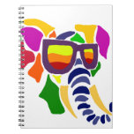 Colorful Elephant Wearing Sunglasses Abstract Spiral Notebook
