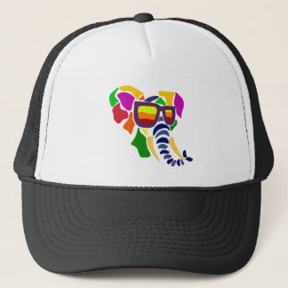 Colorful Elephant Wearing Sunglasses Abstract Trucker Hat