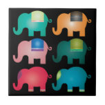 """colorful elephants ceramic tile<br><div class=""""desc"""">cool and sweet design. great gift for elephant lovers.</div>"""