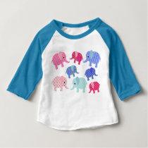 COLORFUL ELEPHANTS PATTERN DESIGN BABY T-Shirt