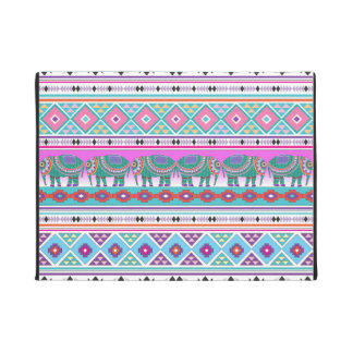 Colorful Elephants with Aztec Pattern Doormat