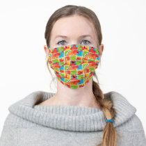 Colorful Elmo Grid Pattern Adult Cloth Face Mask