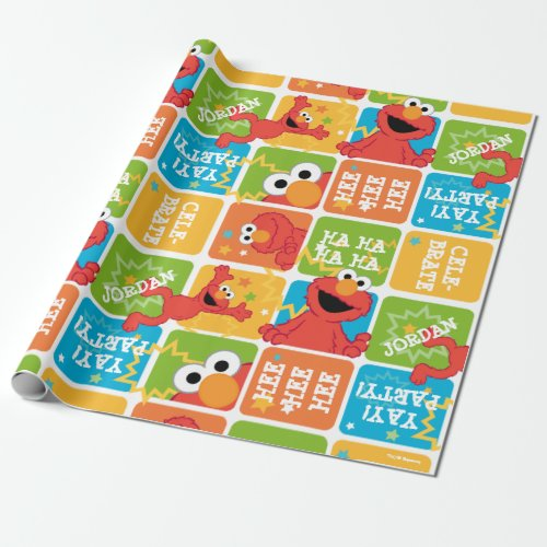 Colorful Elmo Grid Pattern Wrapping Paper