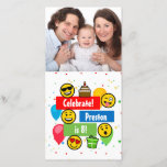"""Colorful Emoji Birthday Party Kids or Boys Custom<br><div class=""""desc"""">Celebrate with these fun simplistic cartoon characters making numerous expressions in face,  sticking tongue out,  wink,  smile with sunglasses,  heart eyes,  etc.  Have a fun emoji emotional birthday party!</div>"""