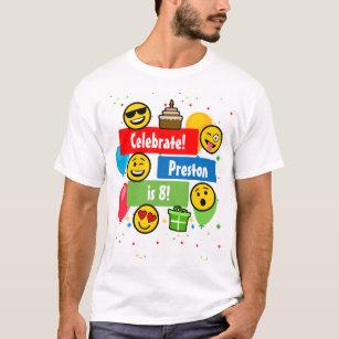 Colorful Emoji Birthday Party Kids Or Boys Custom T Shirt