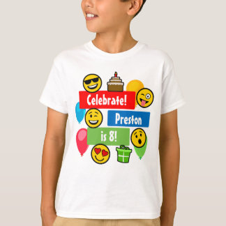 Colorful Emoji Birthday Party Kids or Boys Custom T-Shirt