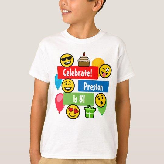 ba52c0cf9 Colorful Emoji Birthday Party Kids or Boys Custom T-Shirt | Zazzle.com