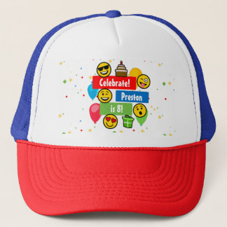 Colorful Emoji Birthday Party Kids or Boys Custom Trucker Hat