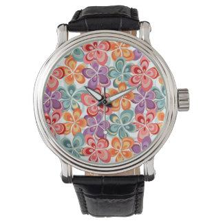 Colorful Enamel Floral Decor Wristwatch