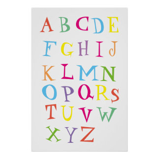 Colorful English alphabet poster for kids