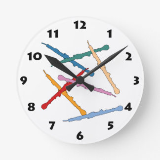 Colorful English Horn Round Clocks