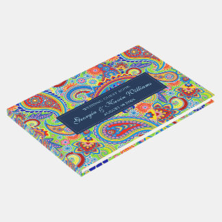 Colorful Ethnic Floral Paisley Guest Book