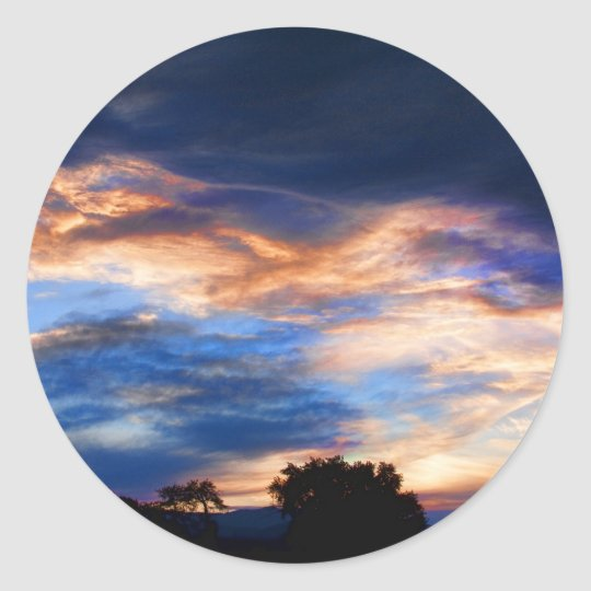 Colorful Evening Sky Classic Round Sticker