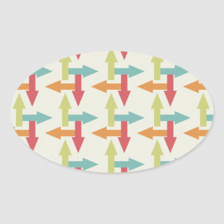 Colorful Every Direction Arrows Blue Red Orange Oval Sticker