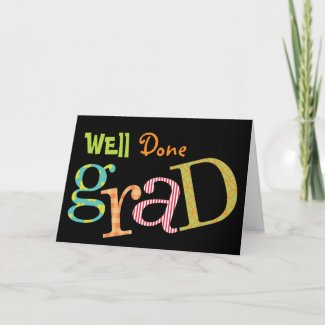 Colorful excitement well done grad congratulation card