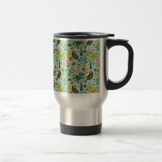 Colorful Exotic Birds And Flowers 15 Oz Stainless Steel Travel Mug