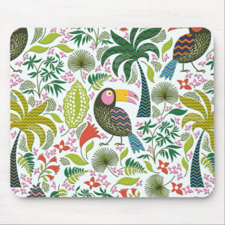 Colorful Exotic Birds And Flowers Pattern Mouse Pad