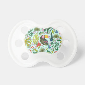 Colorful Exotic Birds And Flowers Pattern Pacifier