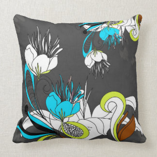 Colorful Exotic Flowers Gray Background Throw Pillow