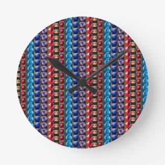 COLORFUL Exotic Jewel Crystal Stone Pattern GIFTS Round Wall Clock