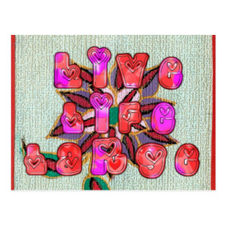Colorful Experience Life Floral pattern design art Postcard