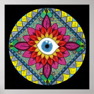 Colorful Eye of Horus Mandala Mosaic Abstract Poster