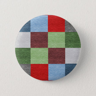 Colorful Fabric Style Squares Pattern Button